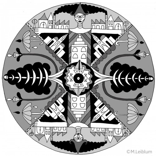graphic mandala print in grey and blacks, city life