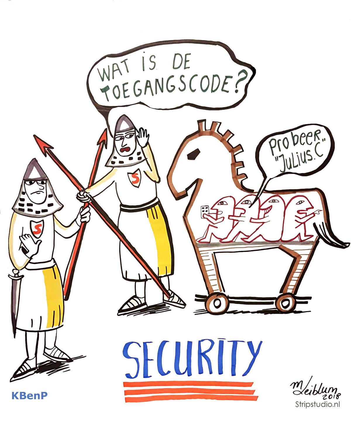 digital security, online veiligheid sneltekening paard van troje met romeinse poortwachters