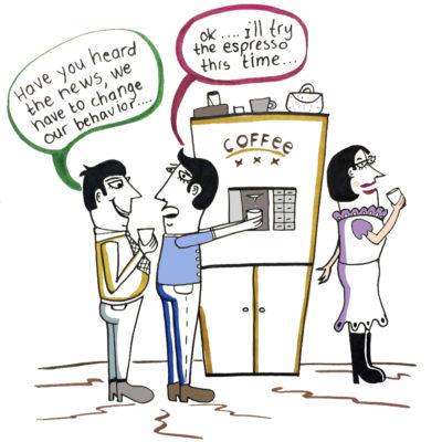 cartoon koffie automaat